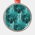 Abstract Floral Swirl Vines Aqua Blue Girly Gifts Christmas Ornament
