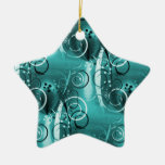 Abstract Floral Swirl Vines Aqua Blue Girly Gifts Christmas Ornaments