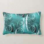 Abstract Floral Swirl Vines Aqua Blue Girly Gifts Throw Pillows