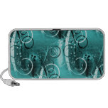 Abstract Floral Swirl Vines Aqua Blue Girly Gifts Speaker System
