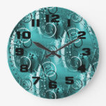 Abstract Floral Swirl Vines Aqua Blue Girly Gifts Wallclock