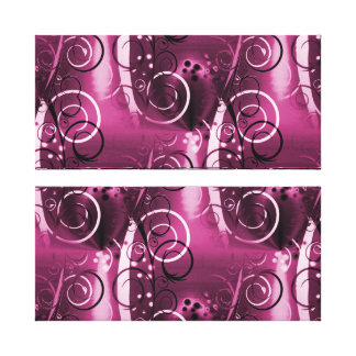 Abstract Floral Swirl Vines Deep Purple Girly Gift Stretched Canvas Prints