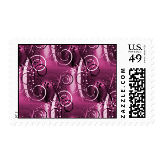 Abstract Floral Swirl Vines Deep Purple Girly Gift Postage