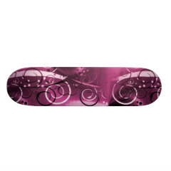 Abstract Floral Swirl Vines Deep Purple Girly Gift Skateboard