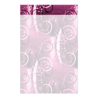 Abstract Floral Swirl Vines Deep Purple Girly Gift Customized Stationery