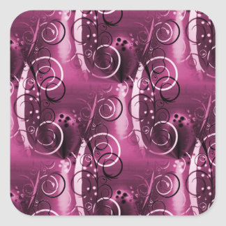Abstract Floral Swirl Vines Deep Purple Girly Gift Square Stickers