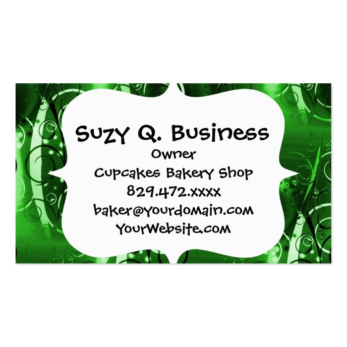 Abstract Floral Swirl Vines Green Girly Gifts Business Card