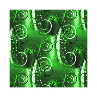 Abstract Floral Swirl Vines Green Girly Gifts Stretched Canvas Print