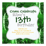 """Abstract Floral Swirl Vines Green Girly Gifts 5.25"""" Square Invitation Card"""