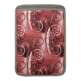 Abstract Floral Swirl Vines Maroon Red Girly Gifts MacBook Sleeves