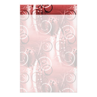 Abstract Floral Swirl Vines Maroon Red Girly Gifts Custom Stationery