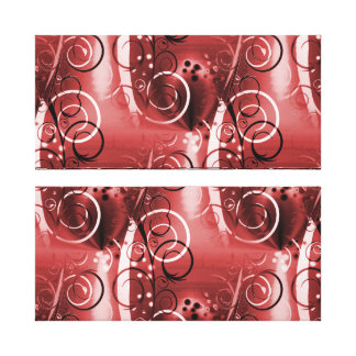 Abstract Floral Swirl Vines Red Girly Gifts Canvas Print
