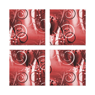 Abstract Floral Swirl Vines Red Girly Gifts Stretched Canvas Prints