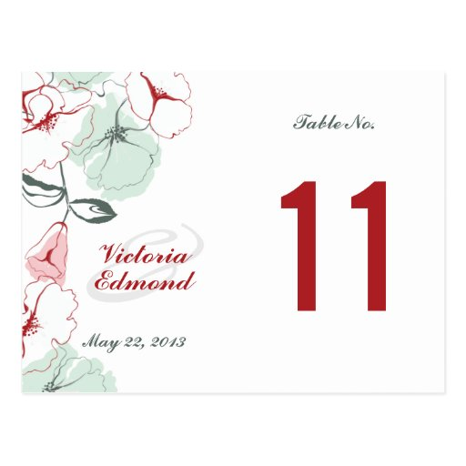 Abstract Floral Table Number Card Post Cards