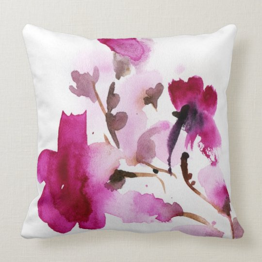 Abstract floral watercolor paintings 4 throw pillow