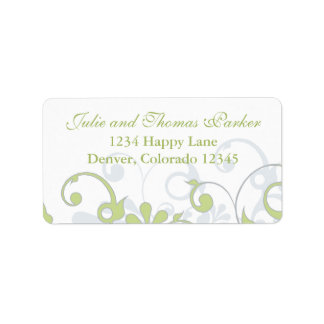 Abstract Floral Wedding Address Label