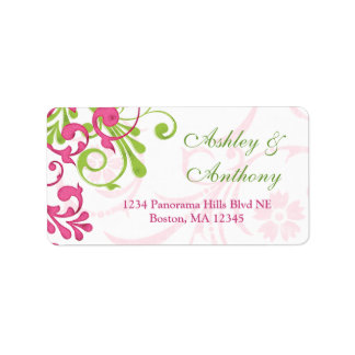 Abstract Floral Wedding Address Mailing Label Address Label