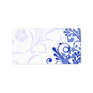 Abstract Floral Wedding Blank Address Label label