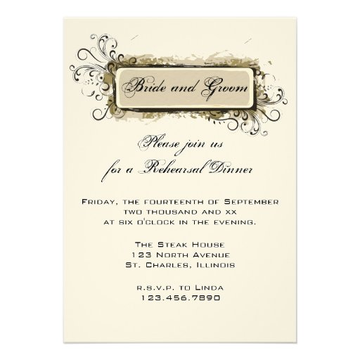 Abstract Floral Wedding Rehearsal Dinner Invite 5 Quot X 7
