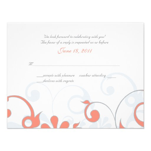Abstract Floral Wedding Response Card Personalized Invites