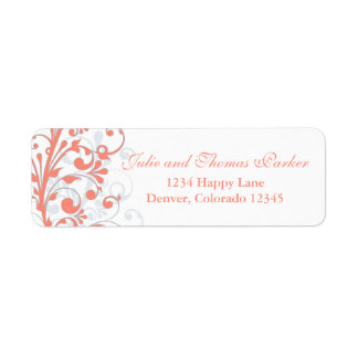 Abstract Floral Wedding Return Address Label