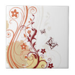 Abstract Floral with butterfly Ceramic Tile