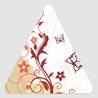 Abstract Floral with butterfly Triangle Sticker