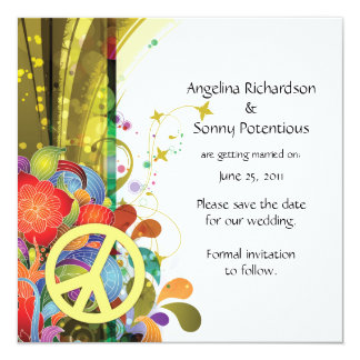 Abstract Florals and Peace Sign Save The Date Custom Announcement
