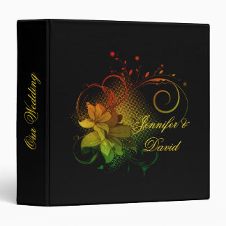 Abstract Florals on Black Wedding Album 3 Ring Binders