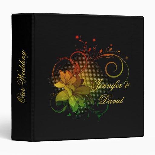 Abstract Florals on Black Wedding Album Vinyl Binders