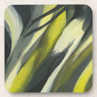 Abstract Flow - Yellow Grey Beverage Coaster