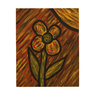 Abstract Flower Autumn Fall Colors Wood Wall Art
