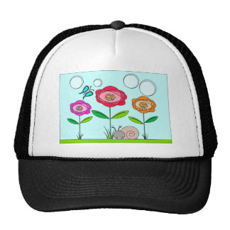 abstract flower, butterfly and snail trucker hat