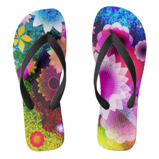 Abstract Flower Collage Flip Flops