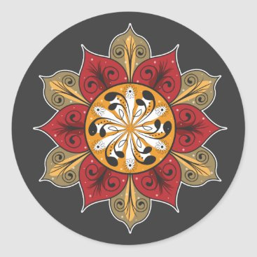Abstract Flower Design Classic Round Sticker