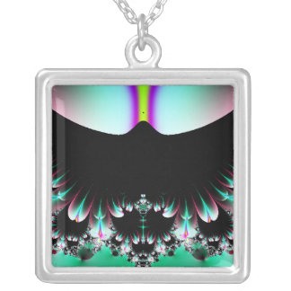 Abstract Flower Garden Square Pendant Necklace
