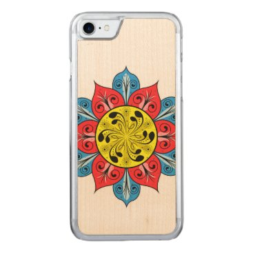Aztec Themed Abstract Flower Illustration Carved iPhone 7 Case