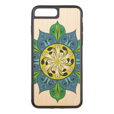 Aztec Themed Abstract Flower Illustration Carved iPhone 7 Plus Case