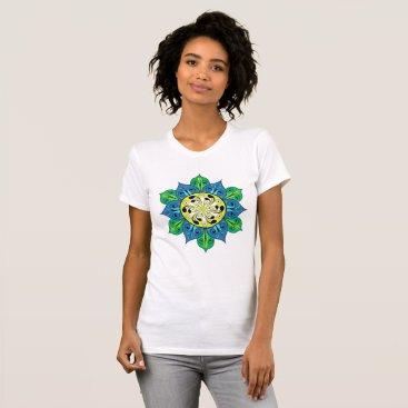 Aztec Themed Abstract Flower Illustration T-Shirt