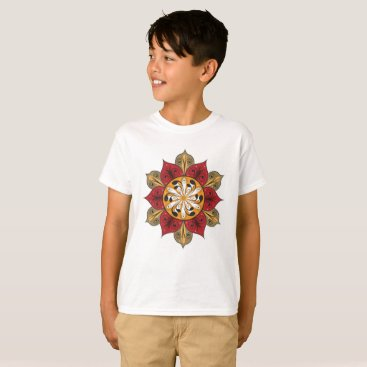 Aztec Themed Abstract Flower Illustration T-Shirt