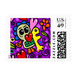 Abstract Flower Kids Art Colorful Pattern Stamp