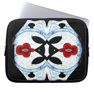 abstract flower laptop case with zipper