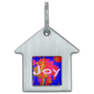 abstract flower magenta blue joy pet name tags