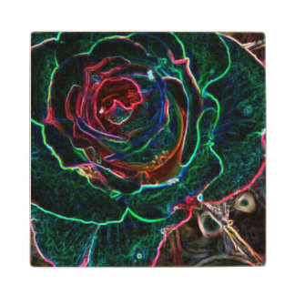 Abstract Flower Maple Wood Coaster