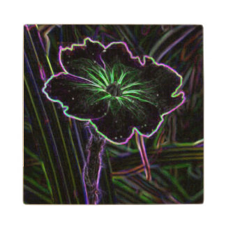 Abstract Flower Wood Coaster