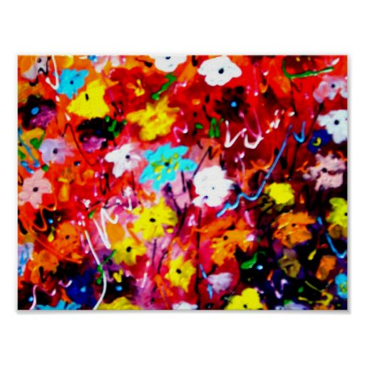 Abstract Flower Painting - Acrylic on canvas Poster