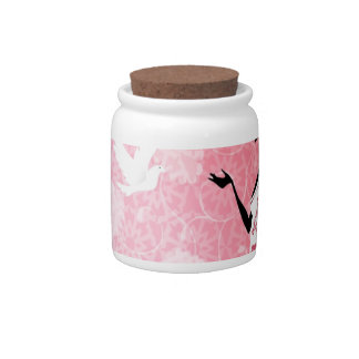 Abstract Flower Pink Love Of Dove Candy Dish