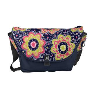 Abstract Flower Print on Dark Blue Messenger Bag