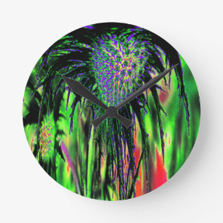 Abstract Flower Round Clock