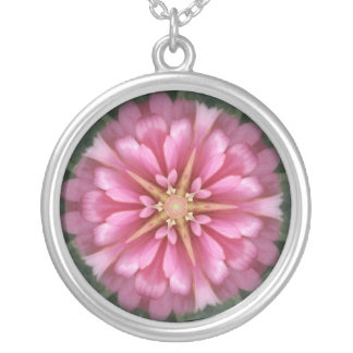 Abstract Flower Round Pendant Necklace